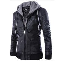 yeni erkek ceketli deri ceket toptan satış-Güz-Yeni Moda Erkek Kapşonlu Deri Ceket Ve Mont PU Deri Casual Siyah M-XXL erkek Motosiklet Deri Ceket Hood Ile Q0315