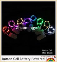 Wholesale Candle Light Led Purple Color - Button Cell Battery Powered 2m 20LED Silver Color Copper Wire Mini Fairy String Lights For Holiday Christmas Wedding Party 8 Colors