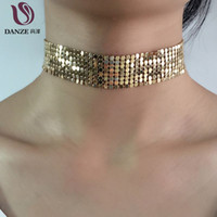 Wholesale Mesh Gold Necklace - Wholesale- DANZE 3 Color Fashion Handmade Gold silver Color metal Mesh Choker Necklaces Women Elegant Metal Chockers Colar Collier Femme
