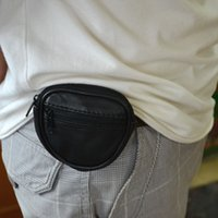 Wholesale Genuine Leather Mini Wallet Coin Purse Waist Belt Loops Bag Coin Pocket Case Key Ring Black