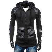 Wholesale Leather Sleeve Sweatshirt Mens - Sweatshirt men hoodies hip hop Slim leather fight print cardigan Sweatshirt zipper mens sportsware tracksuit Hoodie