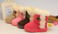 Wholesale Warm Furry Boots - Girls boys Kids Cold Weather Boots Furry Lined Soft Winter Warm Snow Boots Shoes Faux Suede children shoes