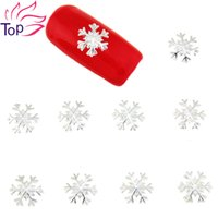 Wholesale Silver Studs For Nail Art - Wholesale- 10 Pcs Lot Gold Silver Alloy Metal Snowflake Design Studs Supplies For Nails Charms Christmas 3D Nail Art Decorations TN1620
