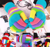 INS Winter Xmas Boys Girls Multicolor Rainbow Knitted Gloves Niños lindos Colorful Stripe Finger Guantes Kids Warm Berlin Gloves