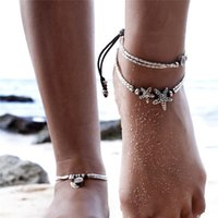 Moda Prata Tone Multi Layers Tassel Rope Chain Foot Chain Star Shape Design Beaded Foot Women Summer Beach Anklet Jewelry
