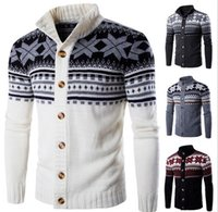 Wholesale british knitting wool for sale - Autumn Mens Cardigan Sweaters Stand Collar Personalize Flowers Printing Knitwears For Men Wild British Stylish Wool Men Sweater J160901