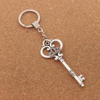 Wholesale Key Chain Crown - Crown Heart Key Keychain Bag Pendant Car Key Chain Ring 10pcs lot Antique Silver Holder K894
