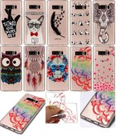 Cartoon Soft TPU Case para Galaxy Note 8, S8 Plus S7 (A5 A3 J7 J5 J3) 2017 Owl Dreamcatcher Lace Flower Panda Lovely Cute Dog Elephant Cover