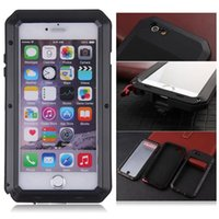 Wholesale Gorilla Glass Case 4s - Metal Armor Case for iPhone 4S 5 5S 5C SE 6 6S Plus Gorilla Glass Waterproof Defender Cover with Retail Package