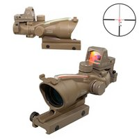 Wholesale Trijicon Illuminated - Trijicon TA31 ACOG Style 4X32 Dark Earth Sand Real Fiber Source Red Illuminated Sight Scope w  RMR Micro Red Dot