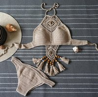 Wholesale Womens Tassel Bathing Suits - New Summer Bohemian Womens Halter Weave Swimsuit Tankinis Bikini Set Tassel Hollow Out Knitted Bikini Triangle Swimwear Bathing Suit