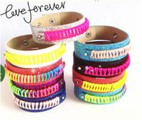 Wholesale Infinity Bracelets Sets - 2016 new fashion women's double leather weave rainbow line bracelet with the infinity bracelet