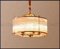 Wholesale Cozy Living Rooms - American Copper Lamp Chandelier Pendant Lights Bedroom Lighting Restaurant Cozy Glass Chandelier Droplights LLWA199