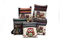 baykuş kanvas toptan satış-Tuval Baykuş Omuz Çantaları karikatür Rahat Messenger çanta Baykuş halk-özel Çizgili çanta 4 renkler Ücretsiz Kargo