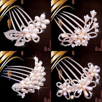 Wholesale Clear Claw Clip - Bride Hairpin Peacock Pearl Flowers Wedding Crystal Rhinestone Pearl Flower Hairpin Diamante Clip Hair Comb Pin Comb