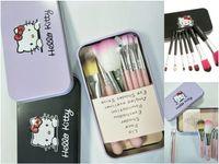 Wholesale iron box brush online - hello Kitty lovely makeup brush suit iron box cartoon makeup brush DHL