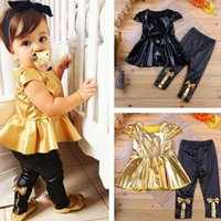Wholesale Legging Pant Dress - Fashion Baby Girl Toddler Sets Shirt Dress Legging Pants Set Baby Children Clothing Sets Outfits Kids Girls Summer Clothes