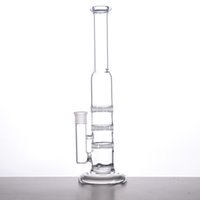 Wholesale Bow Types - GLASS BONG 38mm Tube 3 Clear Honey Comb Perc Disk Water Pipe Glass Bong With Free Charge Matching Dry Bow