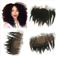 Afro Kinky Curly Virgem Cabelo Brasileiro 4x4 Silk Top Lace Frontal Encerramento Livre Médio 3Way Parte Silk Base Lace Frontal 13x4 Bleached Knots