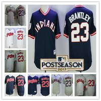 Wholesale Clock Michael - 2017 Postseason Cleveland Indians 23 Michael Brantley Majestic Flex base Turn Back the Clock Authentic cool base baseball Jerseys free shipp