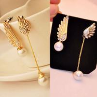 Wholesale Gold Rhinestone Wings Ring - Fashion Women Elegant Wings Rhinestone Ear Stud Gold Plated Dangle Earrings Jewelry Asymmetric Angel Wings Earing Pearl Earring Ear Ring Acc