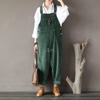 Wholesale Boys Bib Overalls - Wholesale- 2016 New Arrival Women Corduroy Overalls Boy Friends Fit Woman Jumpsuit loose full length pants Femme Bib Causal Daily Trousers