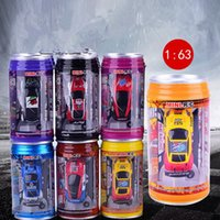 Wholesale Auto Fiberglass - 1 pc Mini RC Car Children Toy High Speed Christmas Gift Coca Cola Can Remote Control Car 1: 63 Auto Racing Model