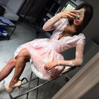 Wholesale Mini Dress Sequin Long Sleeves - Deep V-Neck Pink Short Homecoming Dresses Lace Illusion Long Sleeves Prom Dress Short Appliques Tulle Knee Length Cocktail Party Gowns