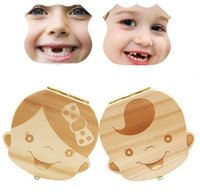 Wholesale boy cartoon images - Baby Teeth Box Organizer Save Milk Teeth Wood Storage Box Great Gifts 3-6YEARS Creative For Kids Boy Girl Image