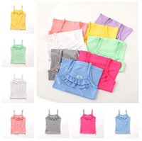 Wholesale Girls Blue Underwear - Newly Baby Kids Tank Tops 8Colors Soft Lycra Cotton Tops Baby Girls Summer Vest Underwear Kids Sleeveless Tshirt Clothes
