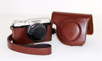 Wholesale Vintage Camera Cases - Coffee Retro Vintage Leather Camera case bag Cover for Olympus SH1 SH2 SH-1 SH-2 Ever ready