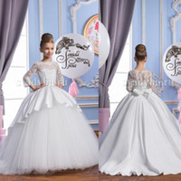 Wholesale Sleeves For Wedding Gowns - 2016 Spring Flower Girl Dresses Sheer Appliqued Jewel 3 4 Sleeves Baby Girl Children Party Dress Sweep Train Gowns For Communion With Bow