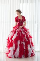imagens de designer dresses real venda por atacado-Real Imagem Em Estoque Com Jaqueta Organza Quinceanera Vestidos Ruffles Longo Frisado Doce 16 Vestidos de Baile Designer Ocasião Vestidos