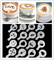 Wholesale Cappuccino Coffee - Coffee Template Cappuccino Barista Art Stencils Cake Duster Spray Tools Templates 16Pcs Many Styles 1 8tt C R