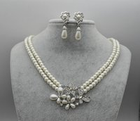 Wholesale Bridal Party Themes - White Gold Plated Double Strand Cream Pearl Butterfly and Flower Theme Bridal Necklace and Earrings Jewelry Sets