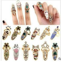 Wholesale Gold Encrusted - Delicate diamond-encrusted fingernail set tail ring joint ring crown armor accessories,you will love it,shipping free
