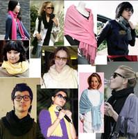 Wholesale Solid Color Long Silk Scarves - Hot Sale 12pcs Pashmina Cashmere Silk Solid Shawl Wrap Unisex Long Range Scarf Women's Girls Ladies Scarf Pure 40 Color