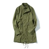 abrigos militares verdes al por mayor-Gabardinas para hombre verde del ejército estilo de la UE High Street Coats Vintage Military largas trincheras abrigos de la ropa