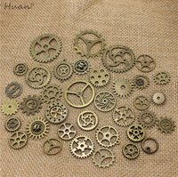 Wholesale Mix Vintage steampunk Charms Gear Pendant Antique bronze Fit Bracelets Necklace DIY Metal Jewelry Making