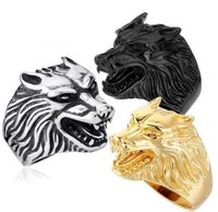 Wholesale Steel Wolf Ring - Fashion Jewelry Cool Wolf Rings Stainless Steel Punk Men and women Gold And Black Ring US size