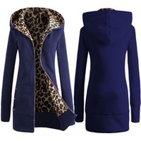 Wholesale Leopard Zip Up Coat - 2016 Autumn Winter Fashion Leopard Women Long Hooded Sweatshirt Coat Warm Thicken Zip Up Outerwear Hoodies Jacket Coats 5 Colors