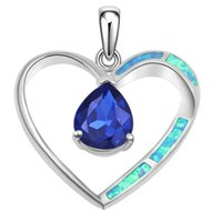 Wholesale Blue Opal Heart - 925 Sterling Silver Pendants Necklace Natural Blue Opal Sapphire Heart Shape Genuine Handmade Solitaire Women Jewelry Free Shipping
