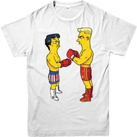 Wholesale Unique Kids Fashion - Fashion Unique Classic Cotton Men The Simpons T-Shirt,American sitcom Rocky Balboa Spoof,Adult and kids Sizes