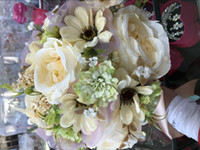 Wholesale Artificial Flower Brooches - Hot Sale Rose Wedding Bouquet Handmade Flowers Top Quality Artificial Peony Beaded Brooch Bride Wedding Bouquet Bridal Bouquets