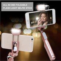расширяемый монопод bluetooth selfie оптовых-LED Bluetooth Selfie палочки с 360 градусов заполнить свет и зеркало заднего вида, выдвижная и складная монопод для iPhone Android телефонов 1 шт. / лот