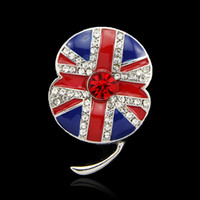 Hot UK National Flag Rhinestone Brooch Memorial Red de flores de amapola Esmalte Tipo de Medalla de Broche Perdón Insignia Al Por Mayor