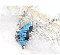 Wholesale Blue Rhinestone Pendant Necklace - Free Shipping Japan and South Korea aesthetic necklace jewelry inlaid with crystal blue butterfly necklace wholesale price