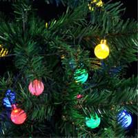 Wholesale solar lit christmas trees resale online - solar fairy lights IP44 G45 led lights bulbs m m m led Christmas light Wedding lamp fairy garden
