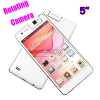 Wholesale Android Smart Phone 5inch - Rotating Camera MTK6572 Dual Core G6 Android 3G Unlocked 5inch Mobile Cell phone 512MB 4GB Play Store BT Smart-wake Smartphone Free DHL Case