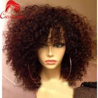 en iyi kıvırcık insan saçı perukları toptan satış-En iyi Kısa Afro Kinky Kıvırcık Peruk Bakire Perulu Dantel Ön Peruk Kinky Kıvırcık Tutkalsız İnsan Saç Tam Dantel Peruk Patlama Ile Bebek Saç